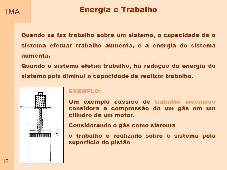 TMA 12 Energia e Trabalho Quando se faz trabalho sobre um sistema, a capacidade de o sistema efetuar trabalho aumenta, e a energia do sistema aumenta.