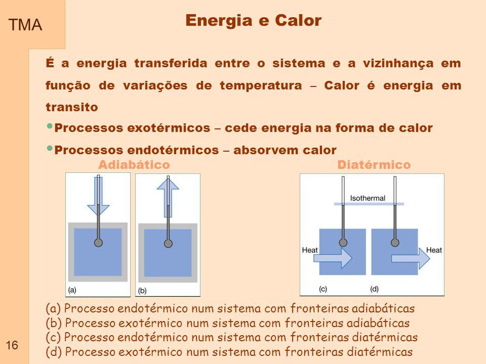 TMA 16 Energia e Calor É a energia transferida entre o sistema e a vizinhança em função de variações de temperatura – Calor é energia em transito Proc