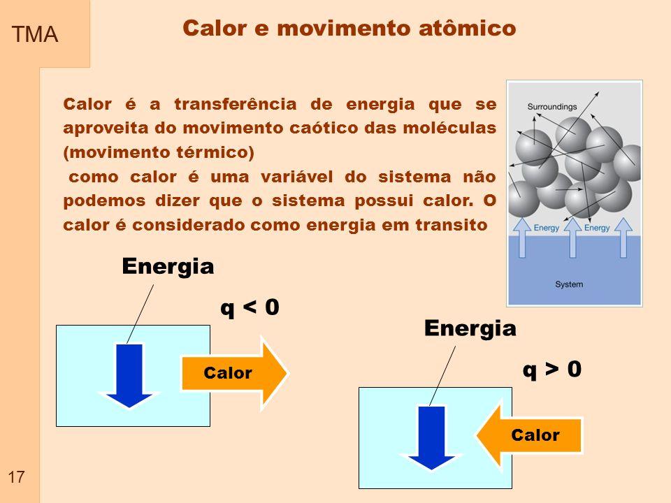 TMA 17 Calor é a transferência de energia que se aproveita do movimento caótico das moléculas (movimento térmico) como calor é uma variável do sistema