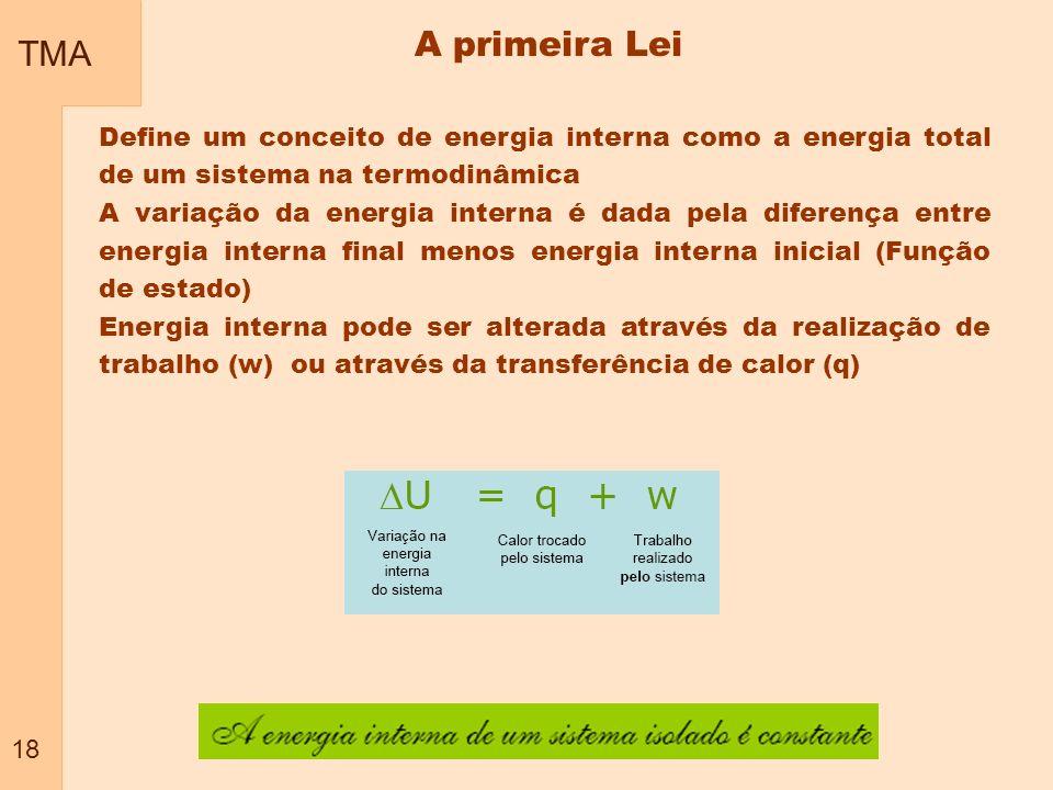 TMA 18 A primeira Lei Define um conceito de energia interna como a energia total de um sistema na termodinâmica A variação da energia interna é dada p