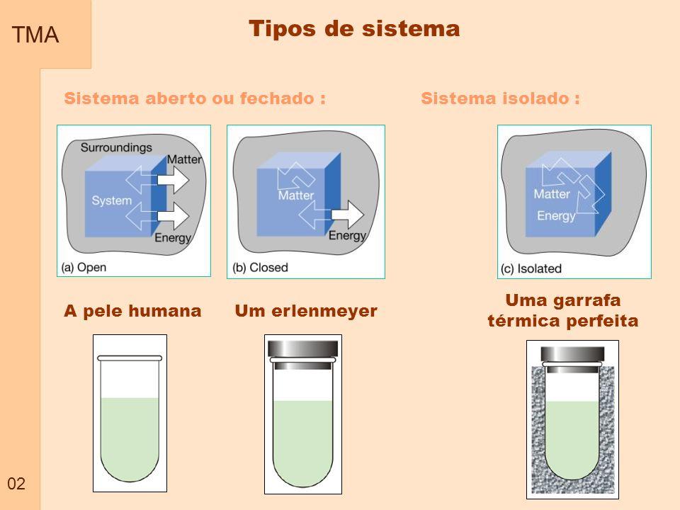 TMA 02 Tipos de sistema Sistema aberto ou fechado :Sistema isolado : A pele humana Uma garrafa térmica perfeita Um erlenmeyer