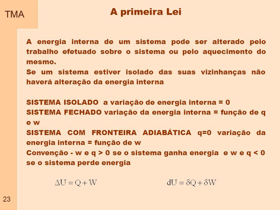 TMA 23 A primeira Lei A energia interna de um sistema pode ser alterado pelo trabalho efetuado sobre o sistema ou pelo aquecimento do mesmo. Se um sis