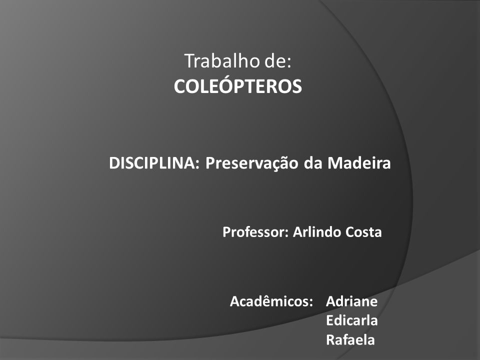 Professor: Arlindo Costa DISCIPLINA: Preservação da Madeira Acadêmicos: Adriane Edicarla Rafaela Trabalho de: COLEÓPTEROS