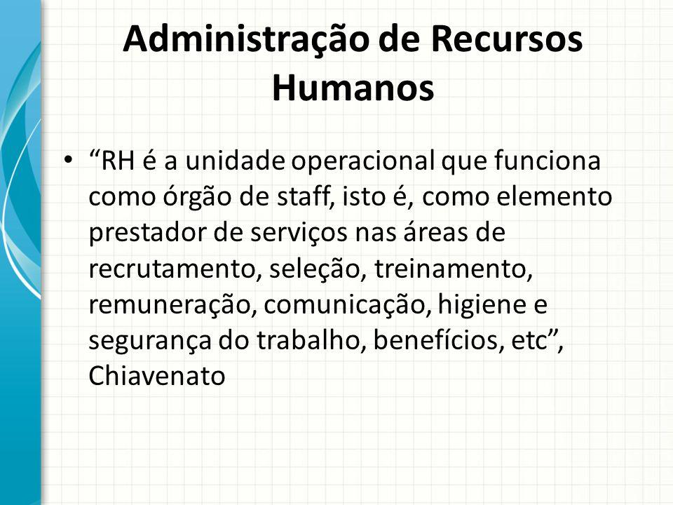 Administração de Recursos Humanos RH é a unidade operacional que funciona como órgão de staff, isto é, como elemento prestador de serviços nas áreas d