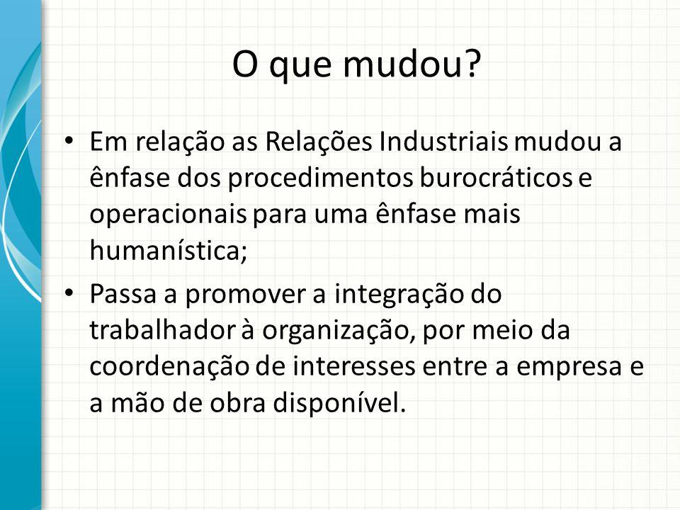 O que mudou? Em relação as Relações Industriais mudou a ênfase dos procedimentos burocráticos e operacionais para uma ênfase mais humanística; Passa a