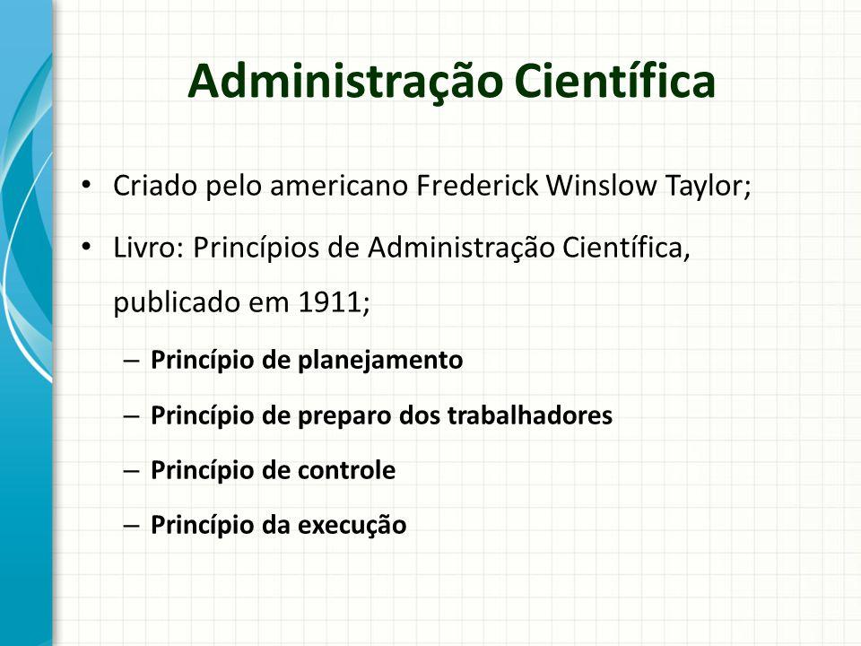Administração Científica Criado pelo americano Frederick Winslow Taylor; Livro: Princípios de Administração Científica, publicado em 1911; – Princípio