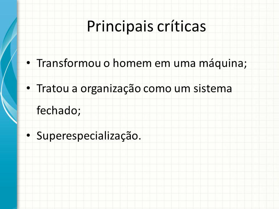 Principais críticas Transformou o homem em uma máquina; Tratou a organização como um sistema fechado; Superespecialização.