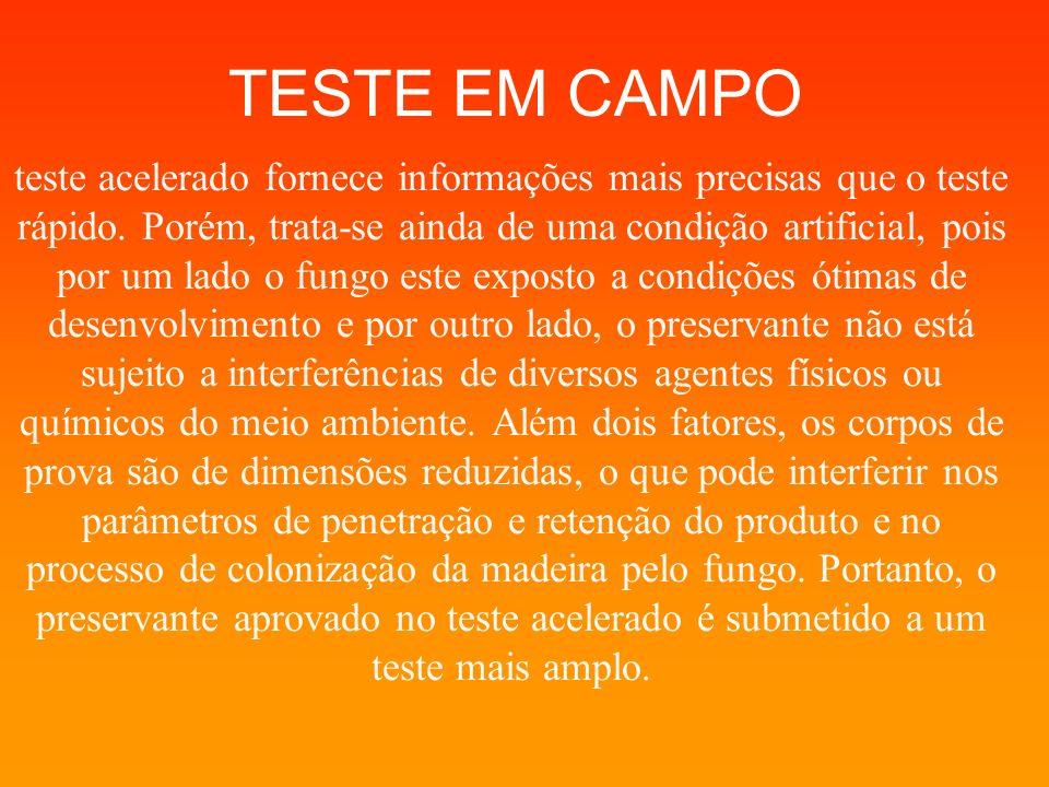 TESTE EM CAMPO teste acelerado fornece informações mais precisas que o teste rápido. Porém, trata-se ainda de uma condição artificial, pois por um lad