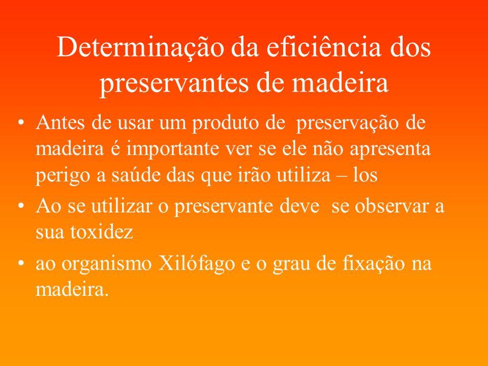 Determinação da eficiência dos preservantes de madeira Antes de usar um produto de preservação de madeira é importante ver se ele não apresenta perigo