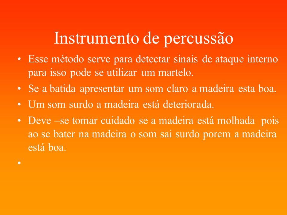 Instrumento de percussão Esse método serve para detectar sinais de ataque interno para isso pode se utilizar um martelo. Se a batida apresentar um som