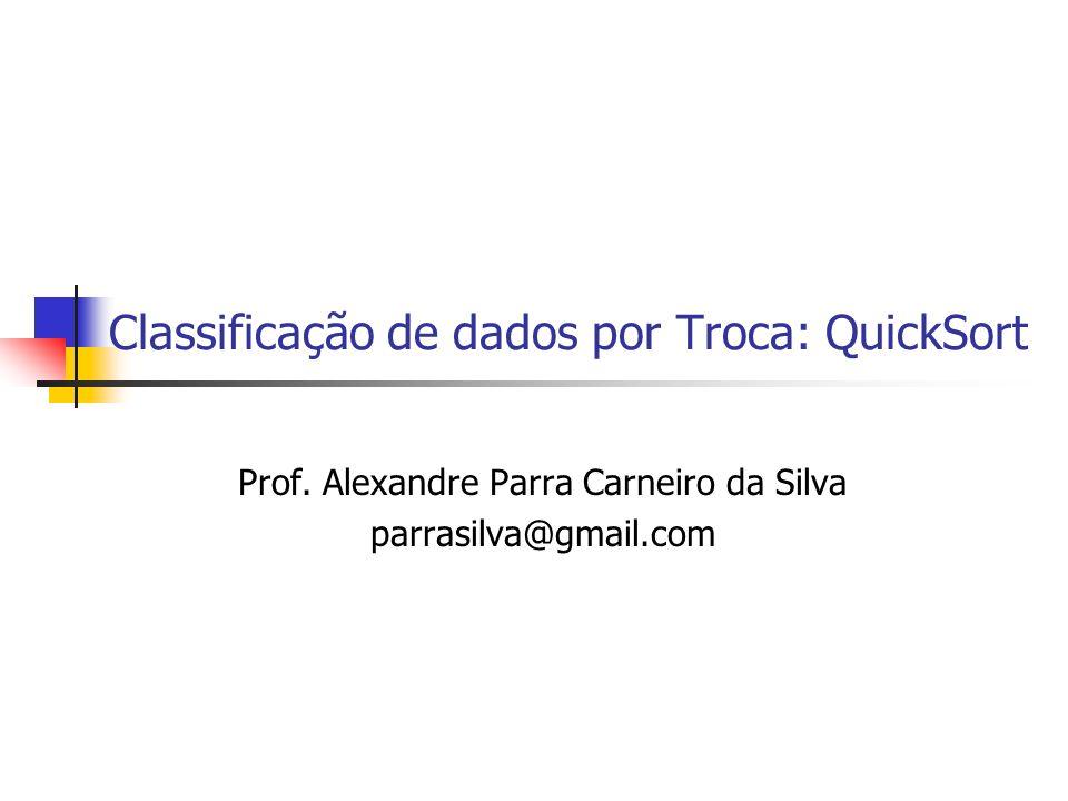 Classificação de dados por Troca: QuickSort Prof. Alexandre Parra Carneiro da Silva parrasilva@gmail.com