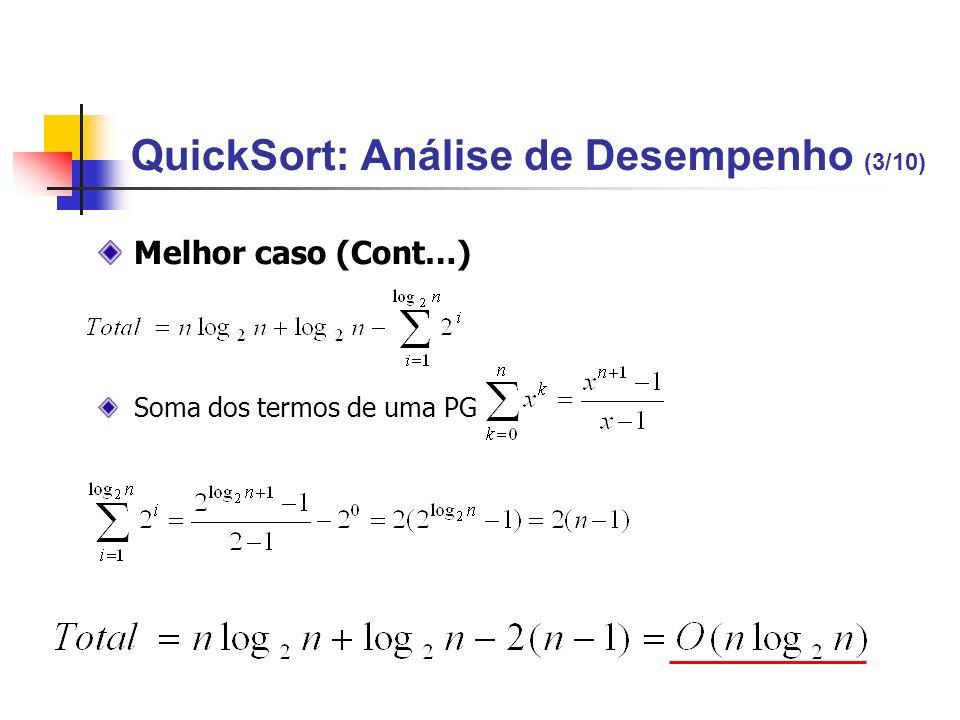 QuickSort: Análise de Desempenho (3/10) Melhor caso (Cont…) Soma dos termos de uma PG