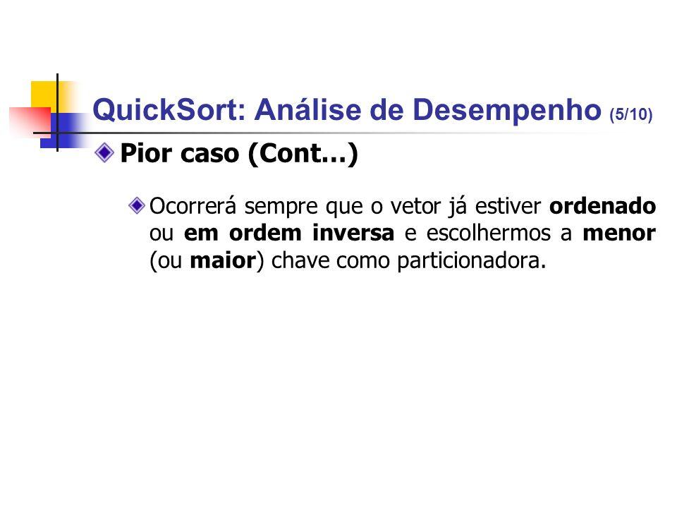 QuickSort: Análise de Desempenho (5/10) Pior caso (Cont…) Ocorrerá sempre que o vetor já estiver ordenado ou em ordem inversa e escolhermos a menor (o