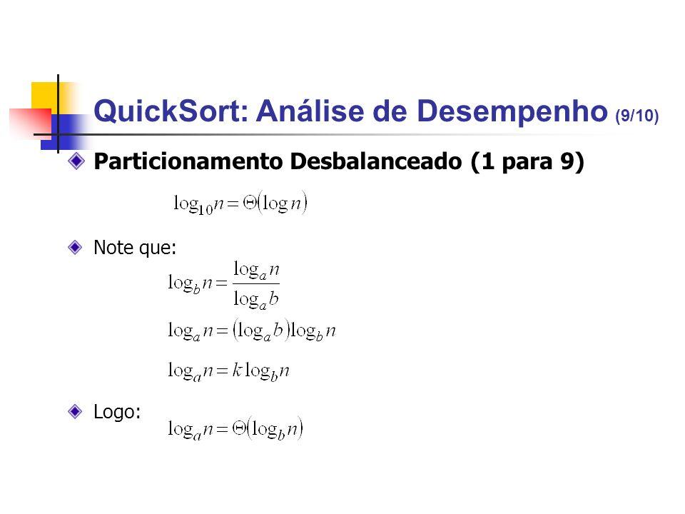 Particionamento Desbalanceado (1 para 9) Note que: Logo: QuickSort: Análise de Desempenho (9/10)