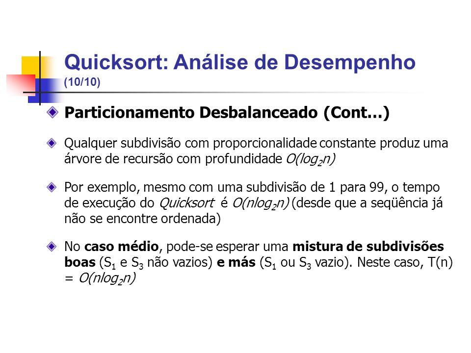 Particionamento Desbalanceado (Cont…) Qualquer subdivisão com proporcionalidade constante produz uma árvore de recursão com profundidade O(log 2 n) Po