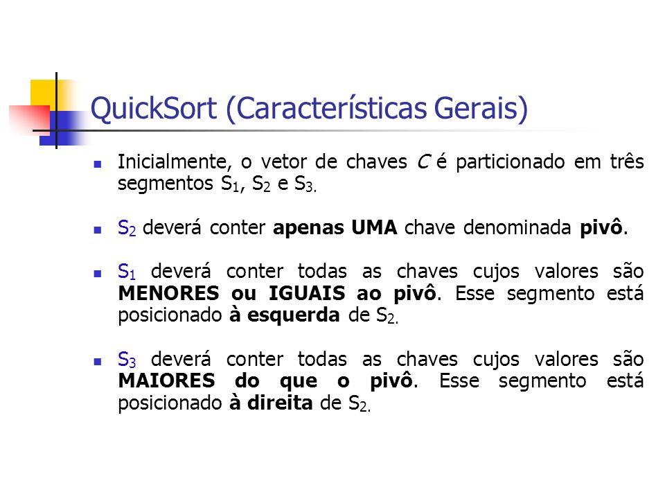QuickSort (Características Gerais) Inicialmente, o vetor de chaves C é particionado em três segmentos S 1, S 2 e S 3. S 2 deverá conter apenas UMA cha