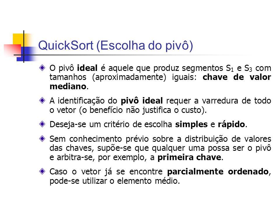 QuickSort (Escolha do pivô) O pivô ideal é aquele que produz segmentos S 1 e S 3 com tamanhos (aproximadamente) iguais: chave de valor mediano. A iden