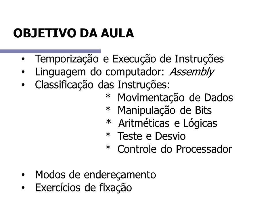 OBJETIVO DA AULA Temporização e Execução de Instruções Linguagem do computador: Assembly Classificação das Instruções: * Movimentação de Dados * Manip