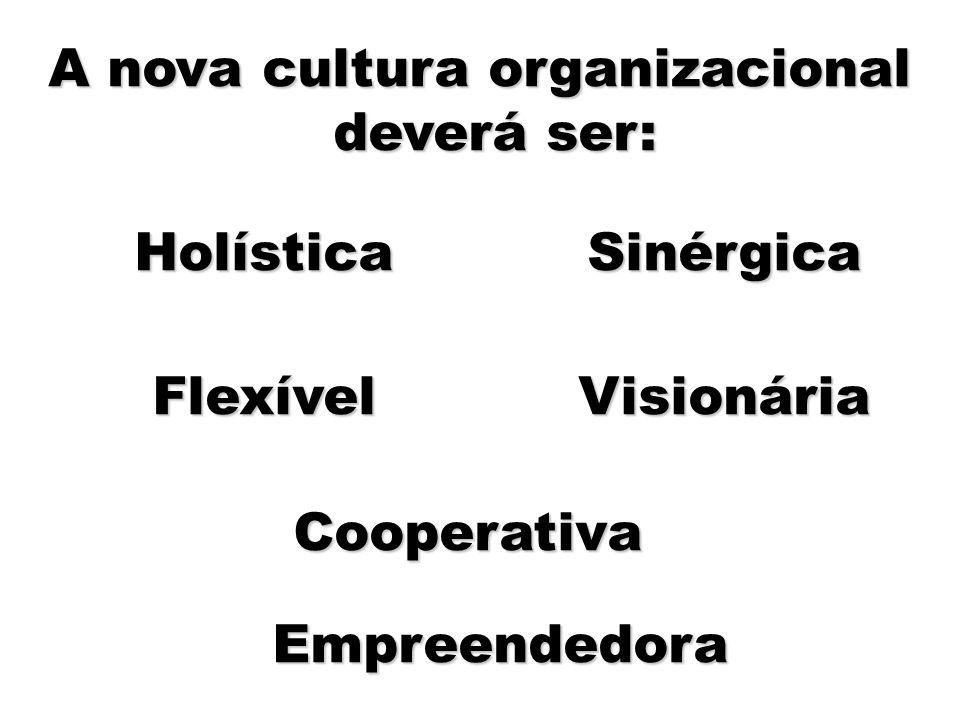 11 A nova cultura organizacional deverá ser: Holística Flexível Sinérgica Visionária Cooperativa Empreendedora
