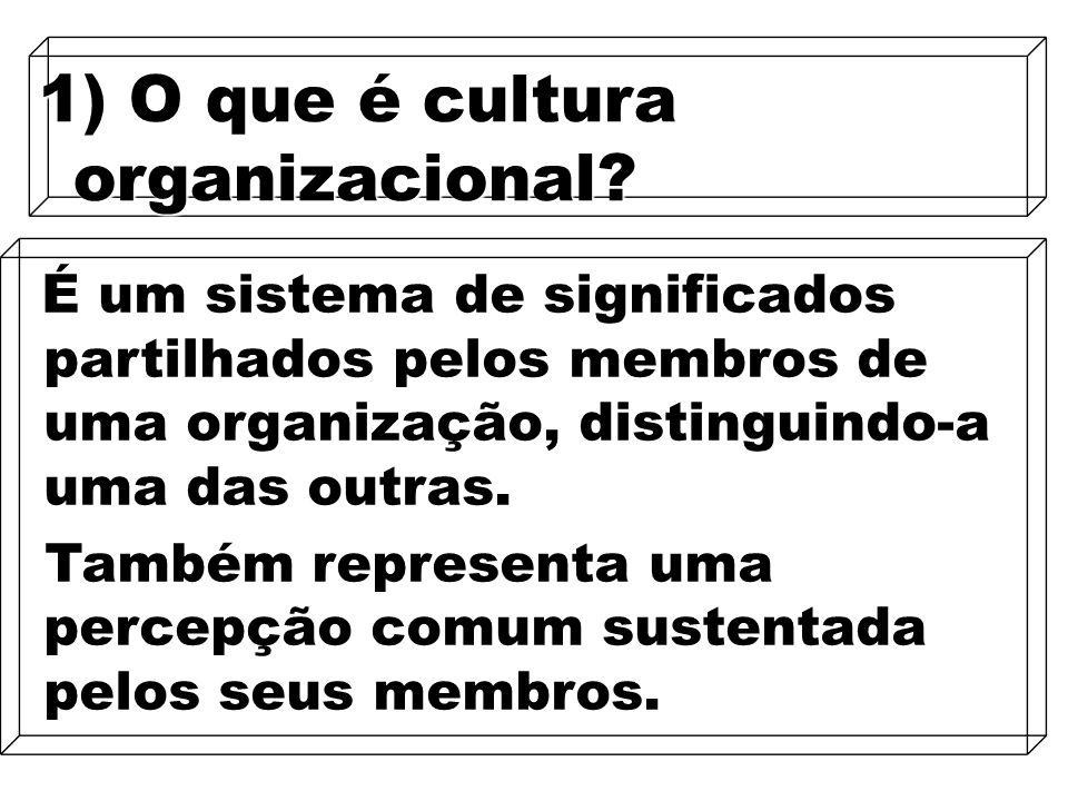 13 1) O que é cultura organizacional? É um sistema de significados partilhados pelos membros de uma organização, distinguindo-a uma das outras. É um s