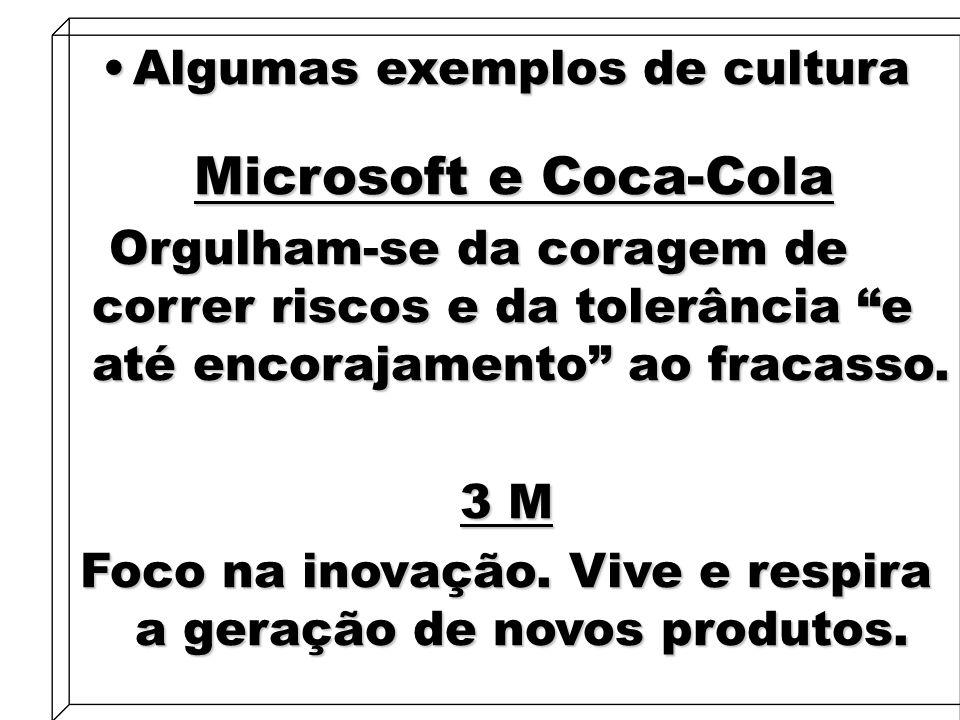 15 Algumas exemplos de culturaAlgumas exemplos de cultura Microsoft e Coca-Cola Microsoft e Coca-Cola Orgulham-se da coragem de correr riscos e da tol