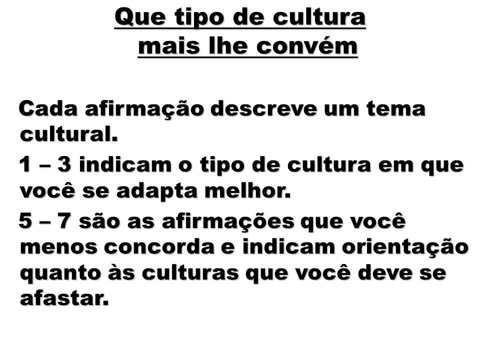 17 Que tipo de cultura mais lhe convém Cada afirmação descreve um tema cultural. Cada afirmação descreve um tema cultural. 1 – 3 indicam o tipo de cul