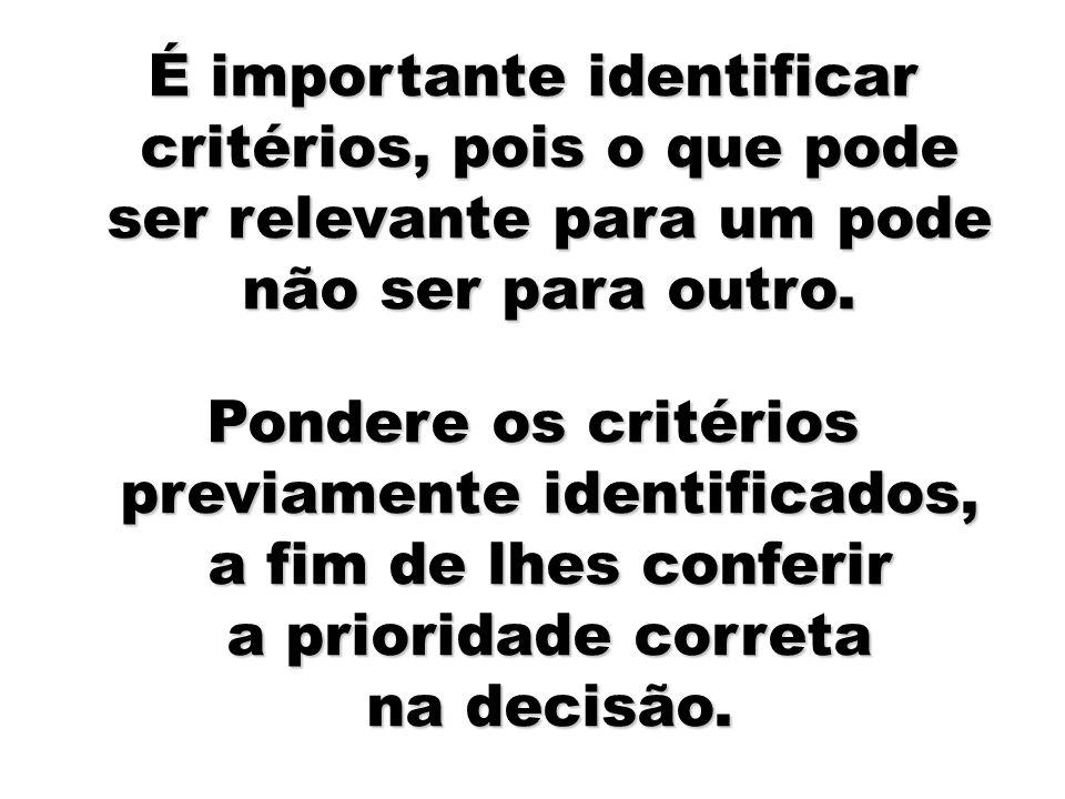 31 É importante identificar critérios, pois o que pode ser relevante para um pode não ser para outro. Pondere os critérios previamente identificados,