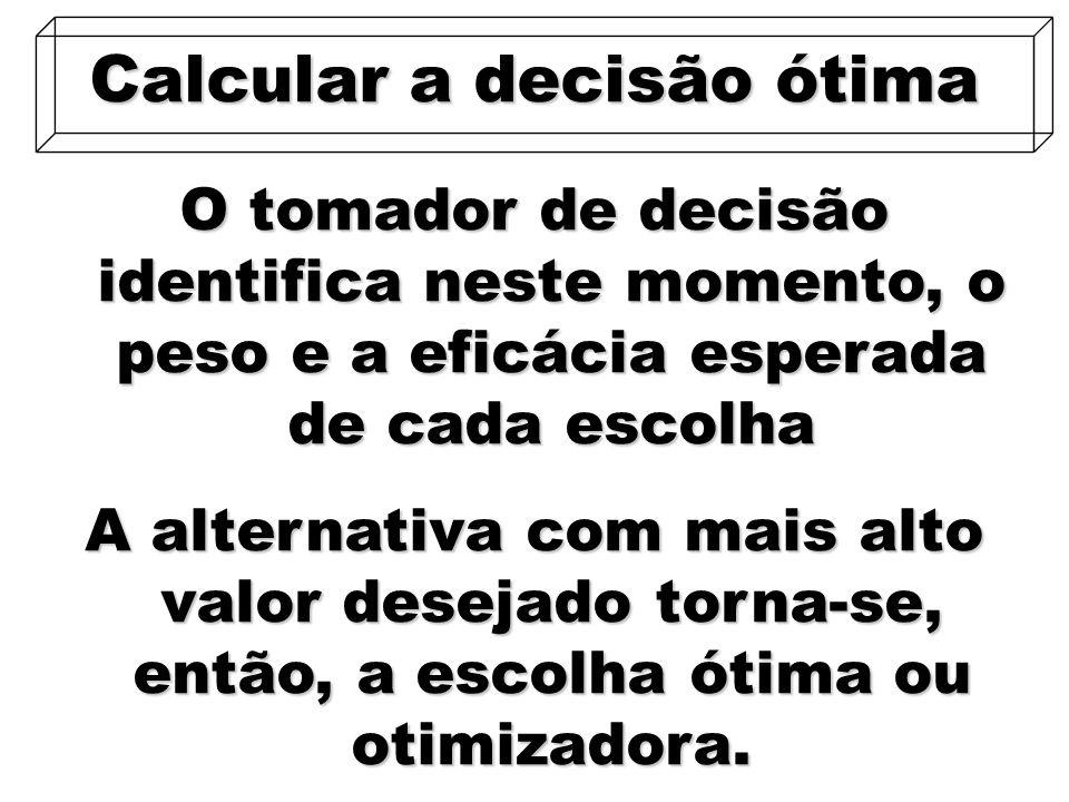 34 O tomador de decisão identifica neste momento, o peso e a eficácia esperada de cada escolha Calcular a decisão ótima A alternativa com mais alto va