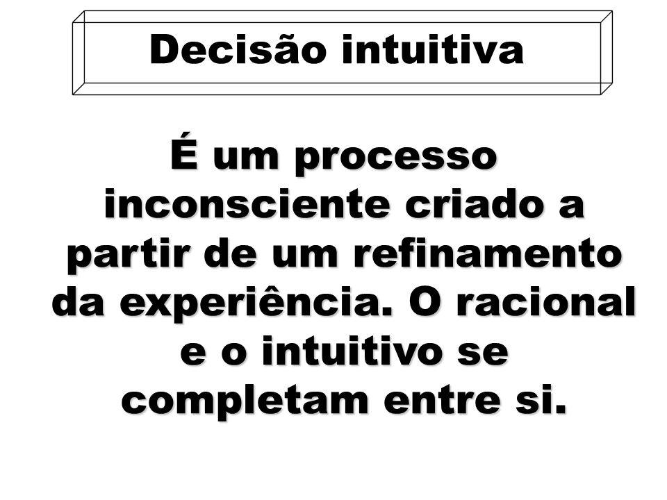 38 É um processo inconsciente criado a partir de um refinamento da experiência. O racional e o intuitivo se completam entre si. Decisão intuitiva