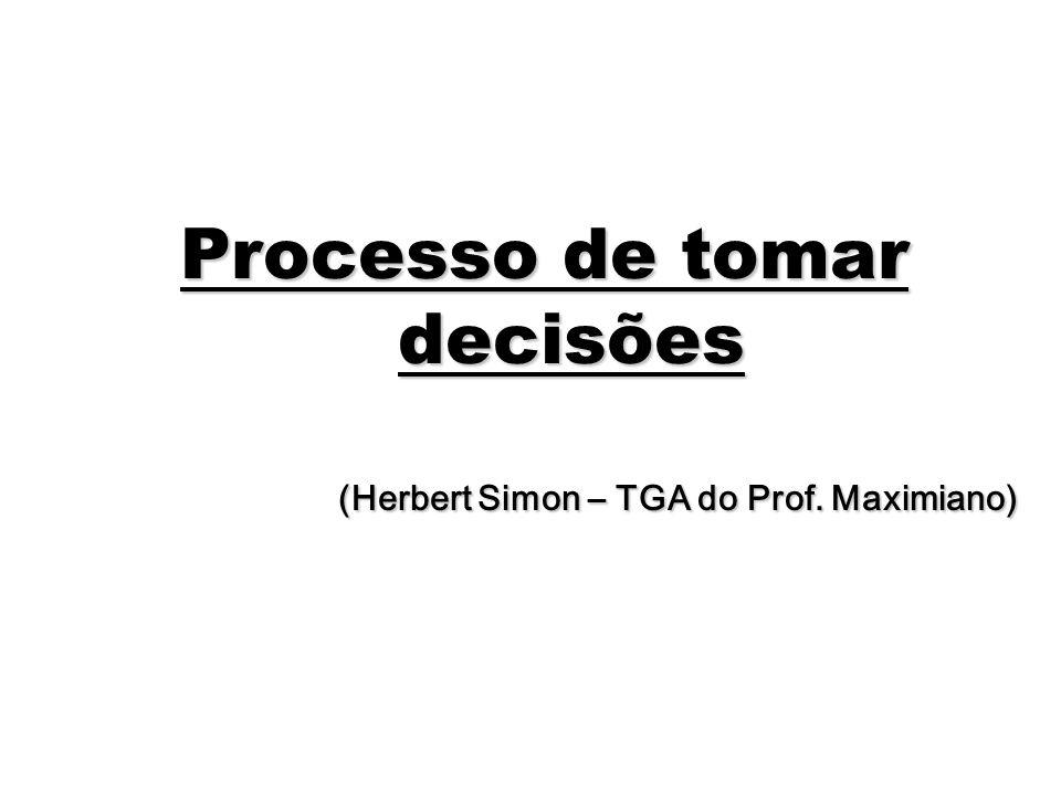 46 Processo de tomar decisões (Herbert Simon – TGA do Prof. Maximiano)