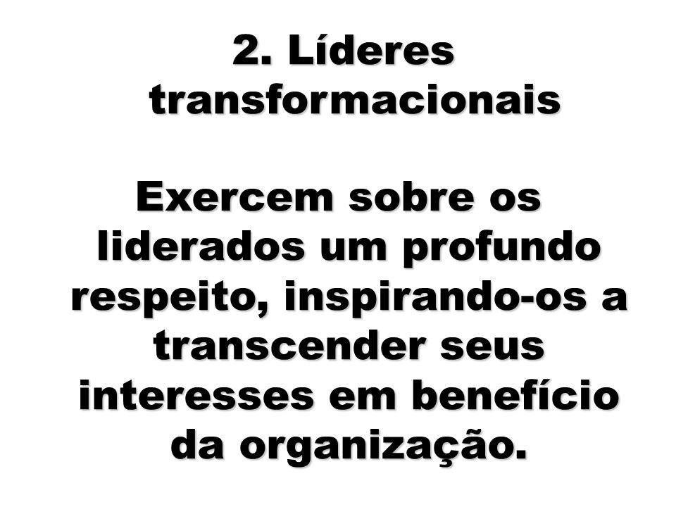 61 Exercem sobre os liderados um profundo respeito, inspirando-os a transcender seus interesses em benefício da organização. 2. Líderes transformacion