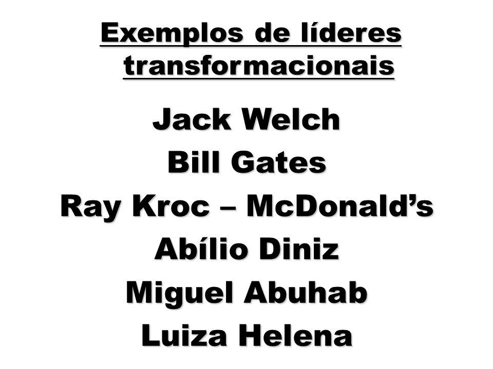 62 Jack Welch Bill Gates Ray Kroc – McDonalds Abílio Diniz Miguel Abuhab Luiza Helena Exemplos de líderes transformacionais