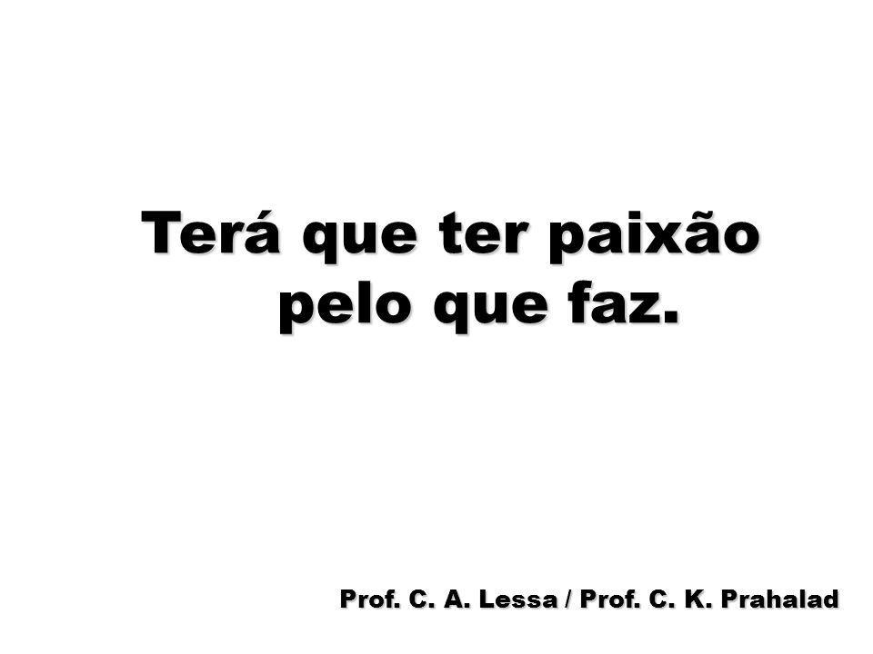 86 Terá que ter paixão pelo que faz. Prof. C. A. Lessa / Prof. C. K. Prahalad