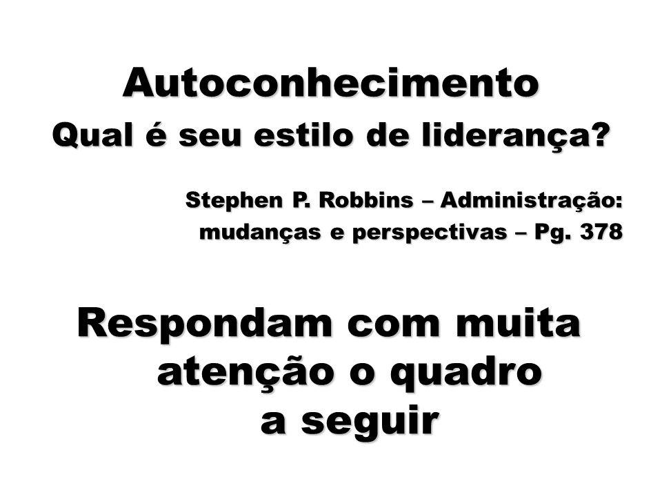 88 Autoconhecimento Qual é seu estilo de liderança? Stephen P. Robbins – Administração: mudanças e perspectivas – Pg. 378 Respondam com muita atenção
