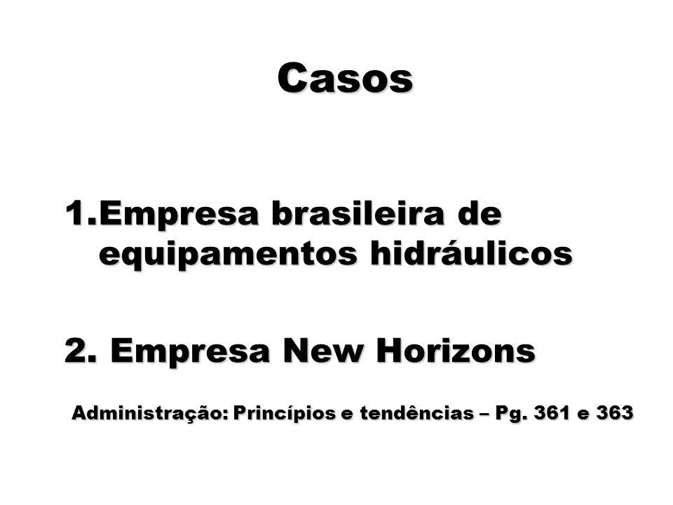 90 Casos 1.Empresa brasileira de equipamentos hidráulicos 2. Empresa New Horizons Administração: Princípios e tendências – Pg. 361 e 363