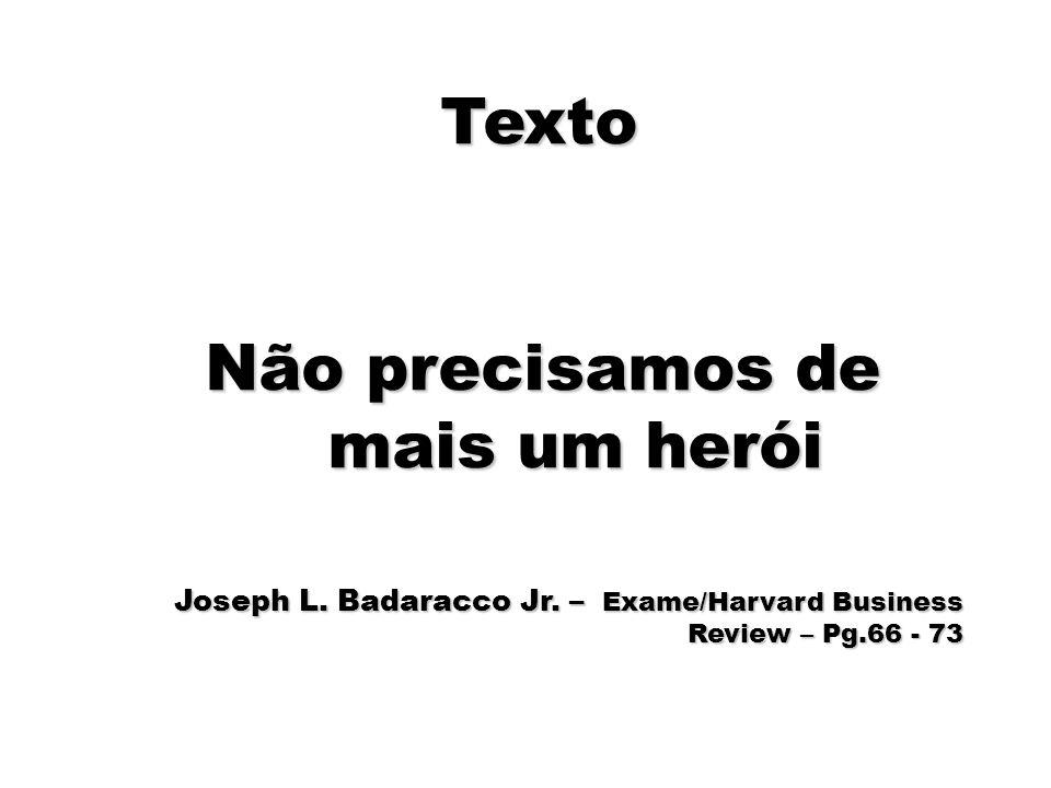 92 Texto Não precisamos de mais um herói Joseph L. Badaracco Jr. – Exame/Harvard Business Review – Pg.66 - 73