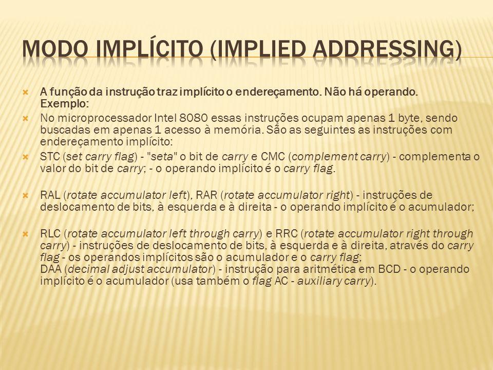 A função da instrução traz implícito o endereçamento. Não há operando. Exemplo: No microprocessador Intel 8080 essas instruções ocupam apenas 1 byte,