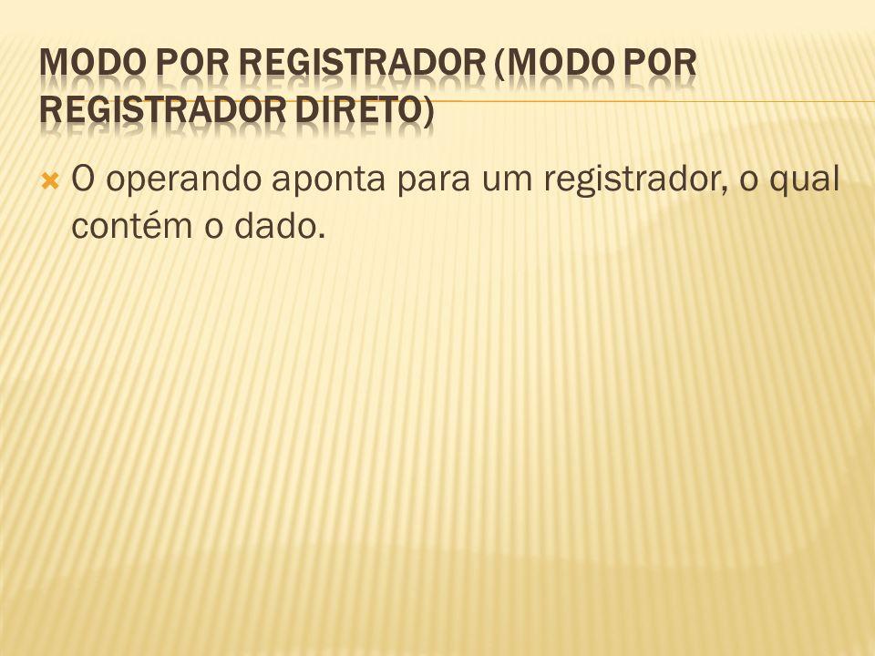 O operando aponta para um registrador, o qual contém o dado.