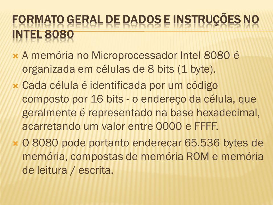 A memória no Microprocessador Intel 8080 é organizada em células de 8 bits (1 byte). Cada célula é identificada por um código composto por 16 bits - o