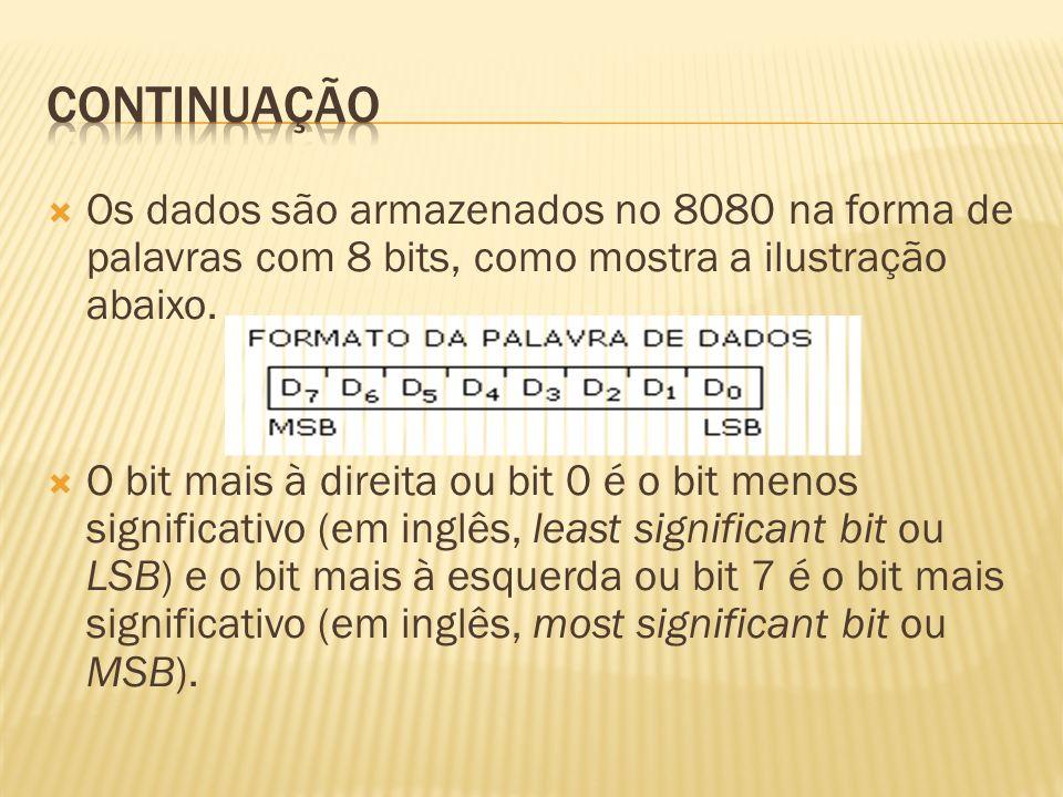Os dados são armazenados no 8080 na forma de palavras com 8 bits, como mostra a ilustração abaixo. O bit mais à direita ou bit 0 é o bit menos signifi