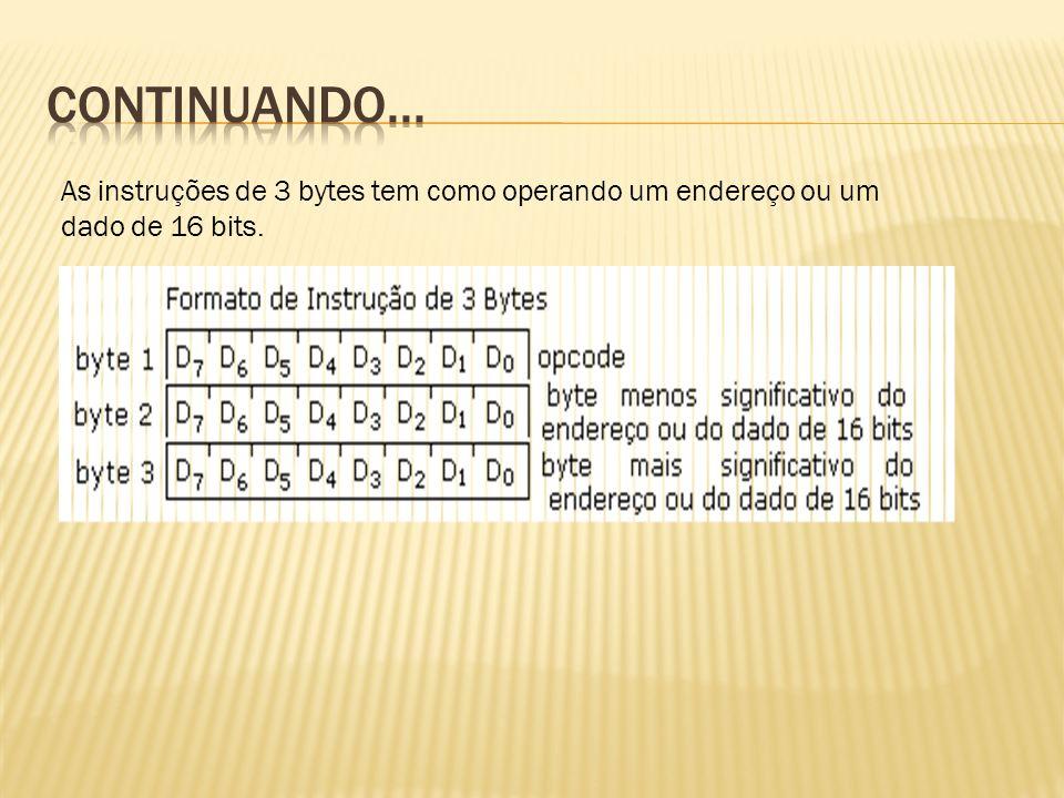 As instruções de 3 bytes tem como operando um endereço ou um dado de 16 bits.