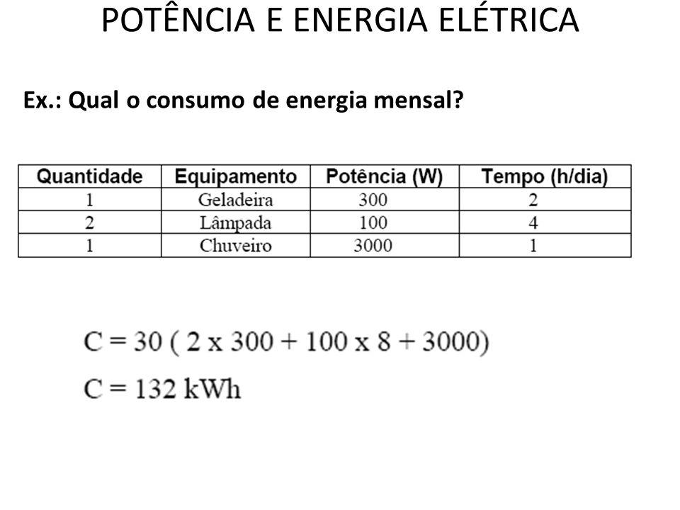 POTÊNCIA E ENERGIA ELÉTRICA Ex.: Qual o consumo de energia mensal?