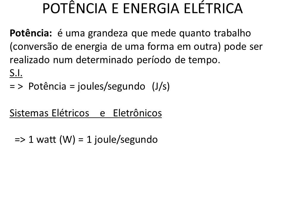 POTÊNCIA E ENERGIA ELÉTRICA Potência: é uma grandeza que mede quanto trabalho (conversão de energia de uma forma em outra) pode ser realizado num dete
