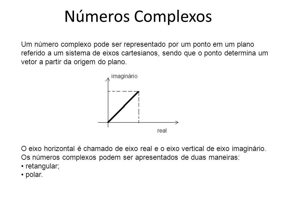 Números Complexos Um número complexo pode ser representado por um ponto em um plano referido a um sistema de eixos cartesianos, sendo que o ponto dete