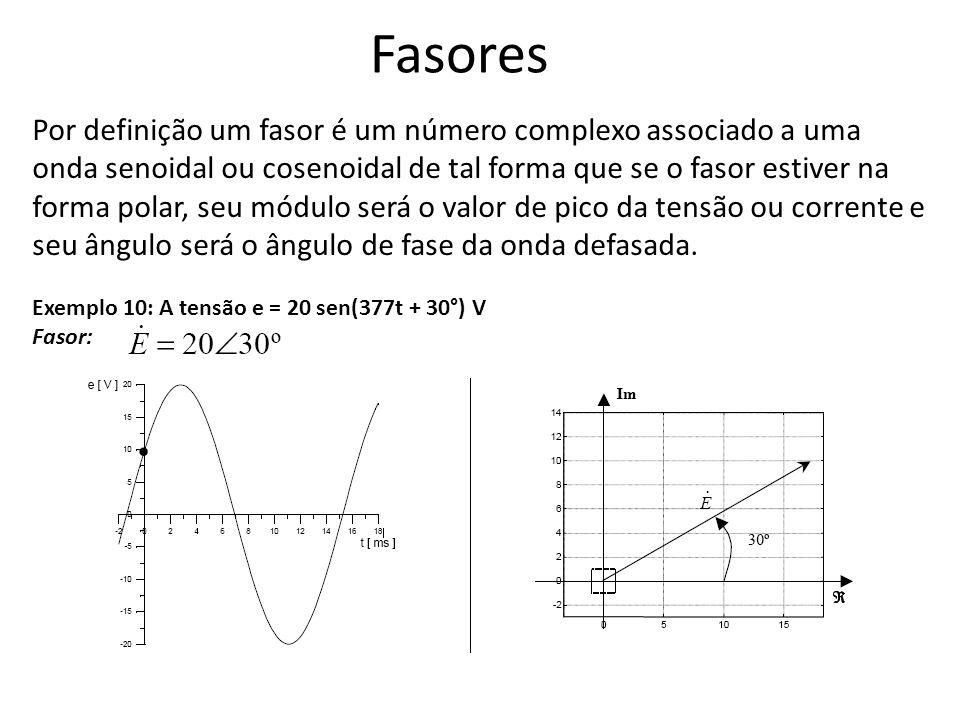 Fasores Por definição um fasor é um número complexo associado a uma onda senoidal ou cosenoidal de tal forma que se o fasor estiver na forma polar, se