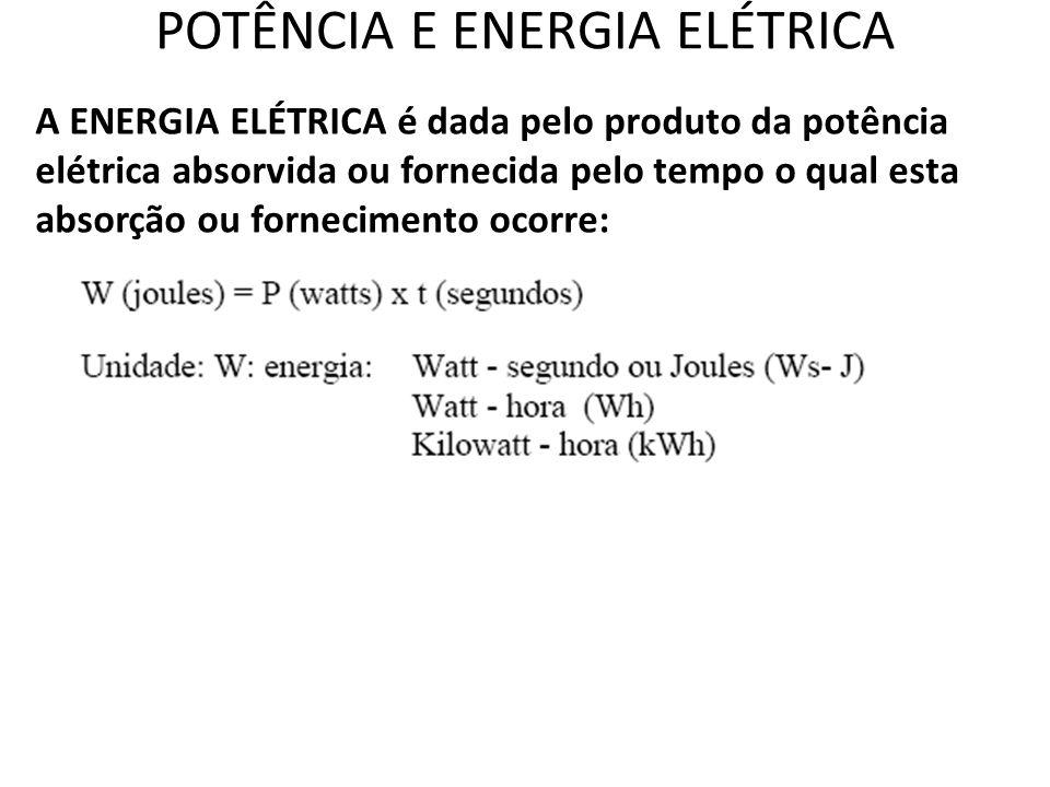POTÊNCIA E ENERGIA ELÉTRICA A ENERGIA ELÉTRICA é dada pelo produto da potência elétrica absorvida ou fornecida pelo tempo o qual esta absorção ou forn