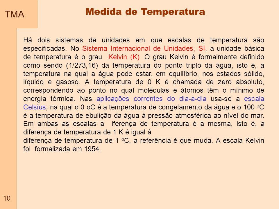 TMA 10 Medida de Temperatura Há dois sistemas de unidades em que escalas de temperatura são especificadas. No Sistema Internacional de Unidades, SI, a