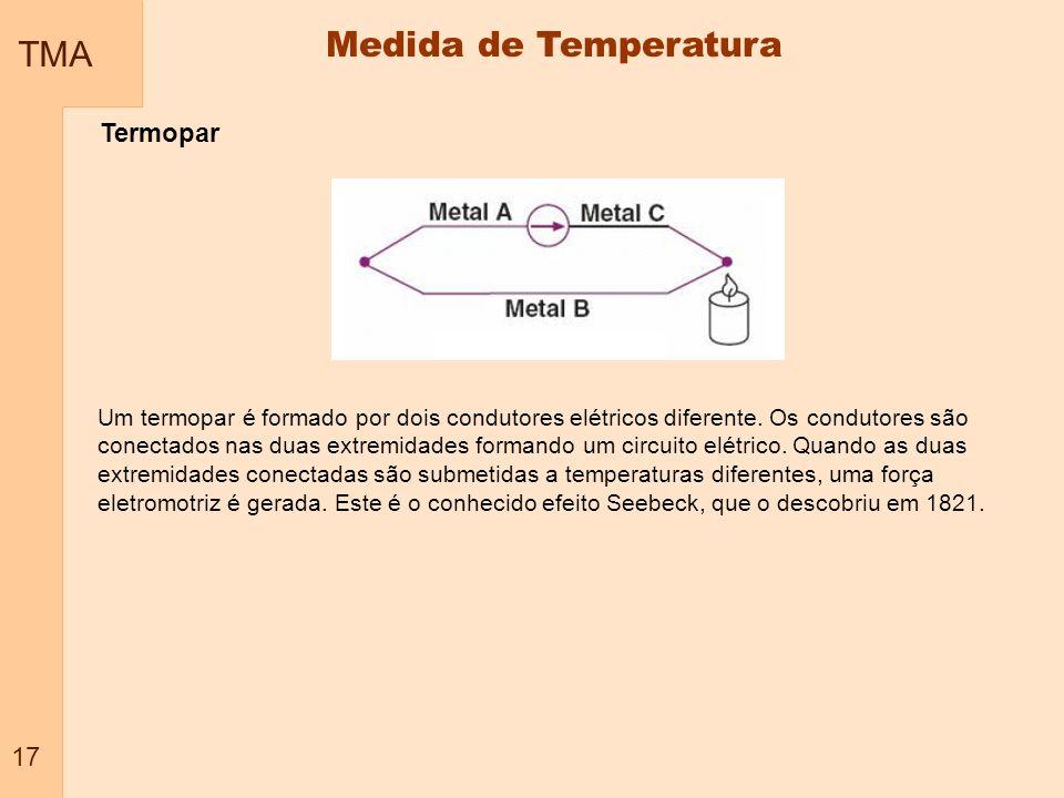TMA 17 Medida de Temperatura Termopar Um termopar é formado por dois condutores elétricos diferente. Os condutores são conectados nas duas extremidade