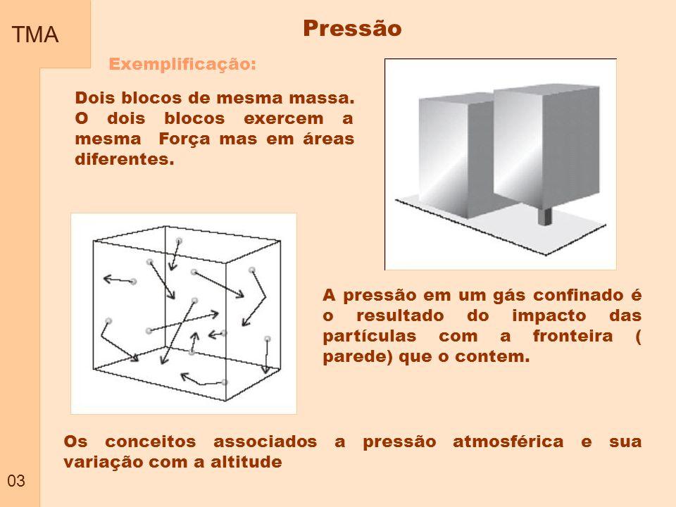TMA 03 Pressão Exemplificação: Dois blocos de mesma massa. O dois blocos exercem a mesma Força mas em áreas diferentes. A pressão em um gás confinado