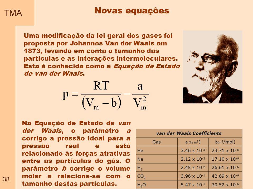 TMA 38 Novas equações Uma modificação da lei geral dos gases foi proposta por Johannes Van der Waals em 1873, levando em conta o tamanho das partícula